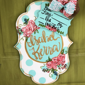 Turquoise and Gold Aqua and Pink Flowers Personalized Baby Nursery Painted Sign Name Date by Southern ADOORnments