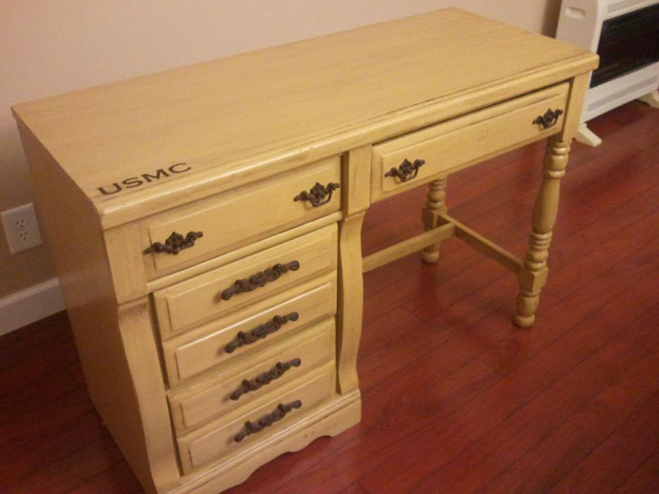 USMC Marines Man Cave Desk Painted Furniture Makeover by Southern ADOORnments