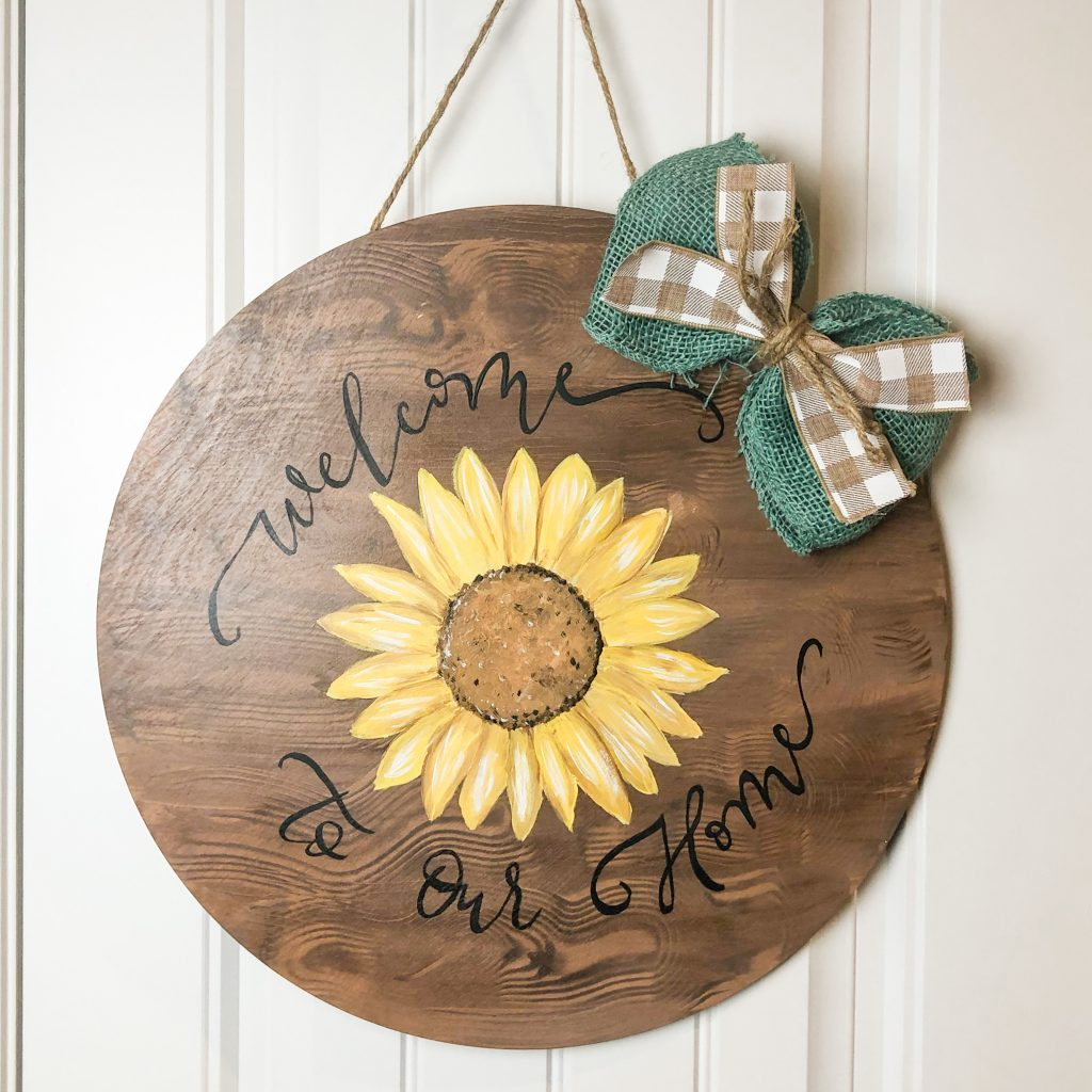Welcome Our Home Sunflower Faux Wood Barrel Head Door Hanger Sign by Southern A-DOOR-nments