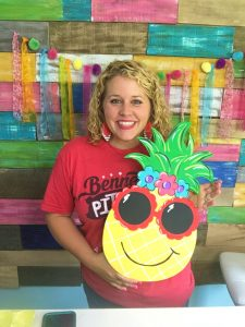 Tamara Bennett with Painted Sunglasses Sassy Pineapple Summer Door Hanger by Southern A-DOOR-nments