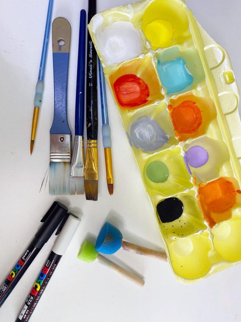 Supplies Used to Paint a Door Hanger