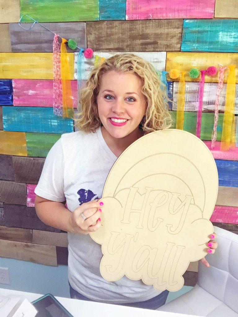 Tamara Bennett at Southern A-Door-nments with a Funky Rainbow Etched Door Hanger Blank