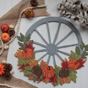 Fall Floral Wagon Wheel Painted by Southern A-Door-nments