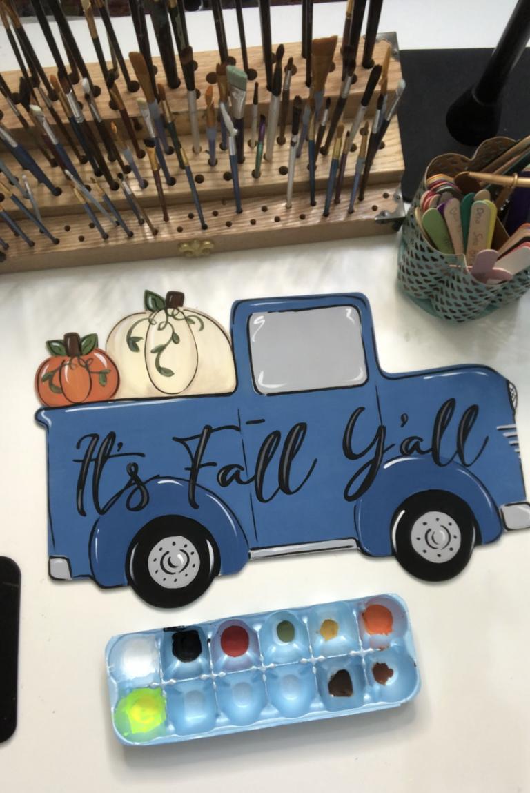 Blue Truck Door Hanger Painted by Tamara Bennett