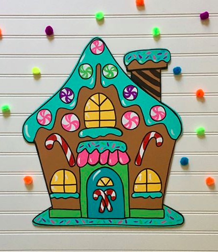 Gingerbread House Painted by Kayla Deckard at Broke Compass Creations