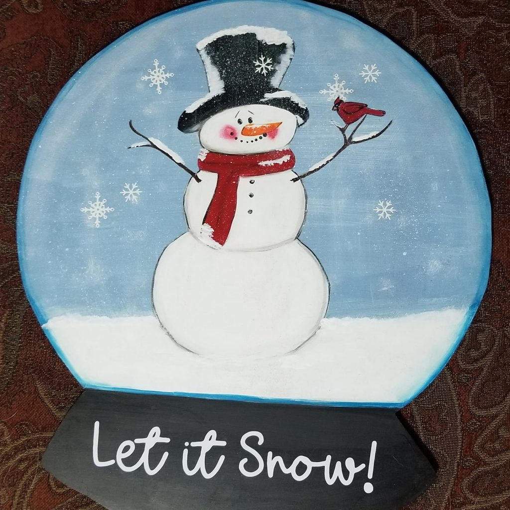 Let it Snow Door Hanger Painted by Marti Trivett