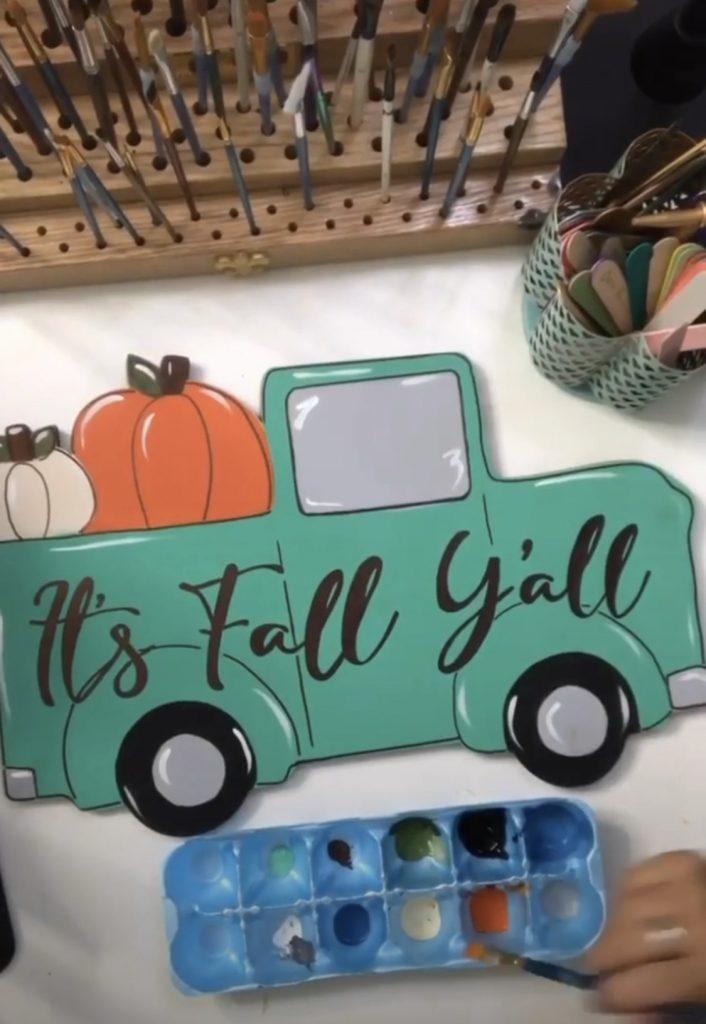 Painting a Pumpkin Truck Door Hanger Four Ways - Mint Truck