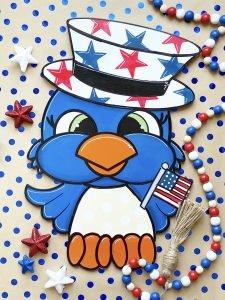 Patriotic Bird Door Hanger Staging