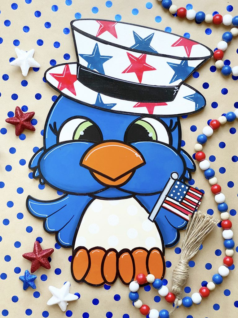 Patriotic Bird Door Hanger Staging