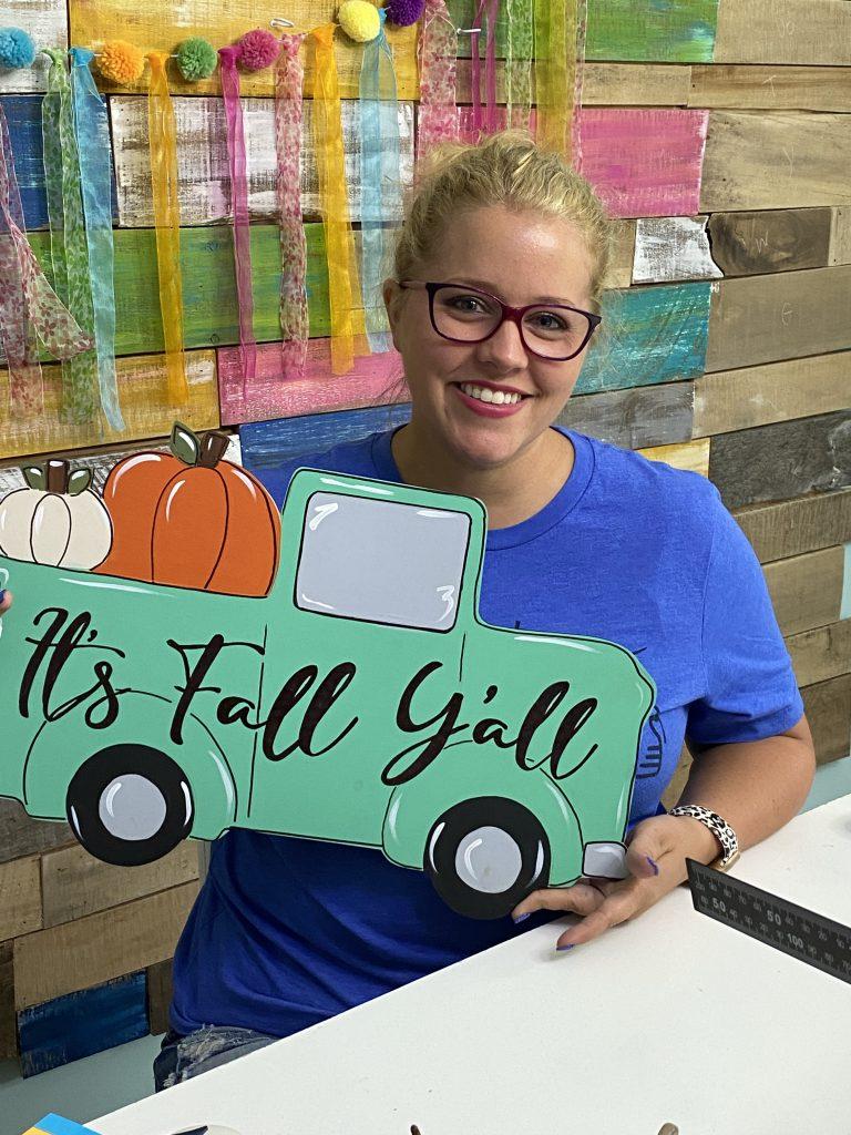 Mint Pumpkin Truck Door Hanger Painted by Tamara Bennett