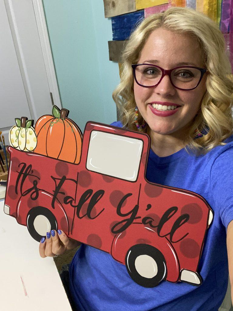 Red Fall Truck Door Hanger Painted by Tamara Bennett