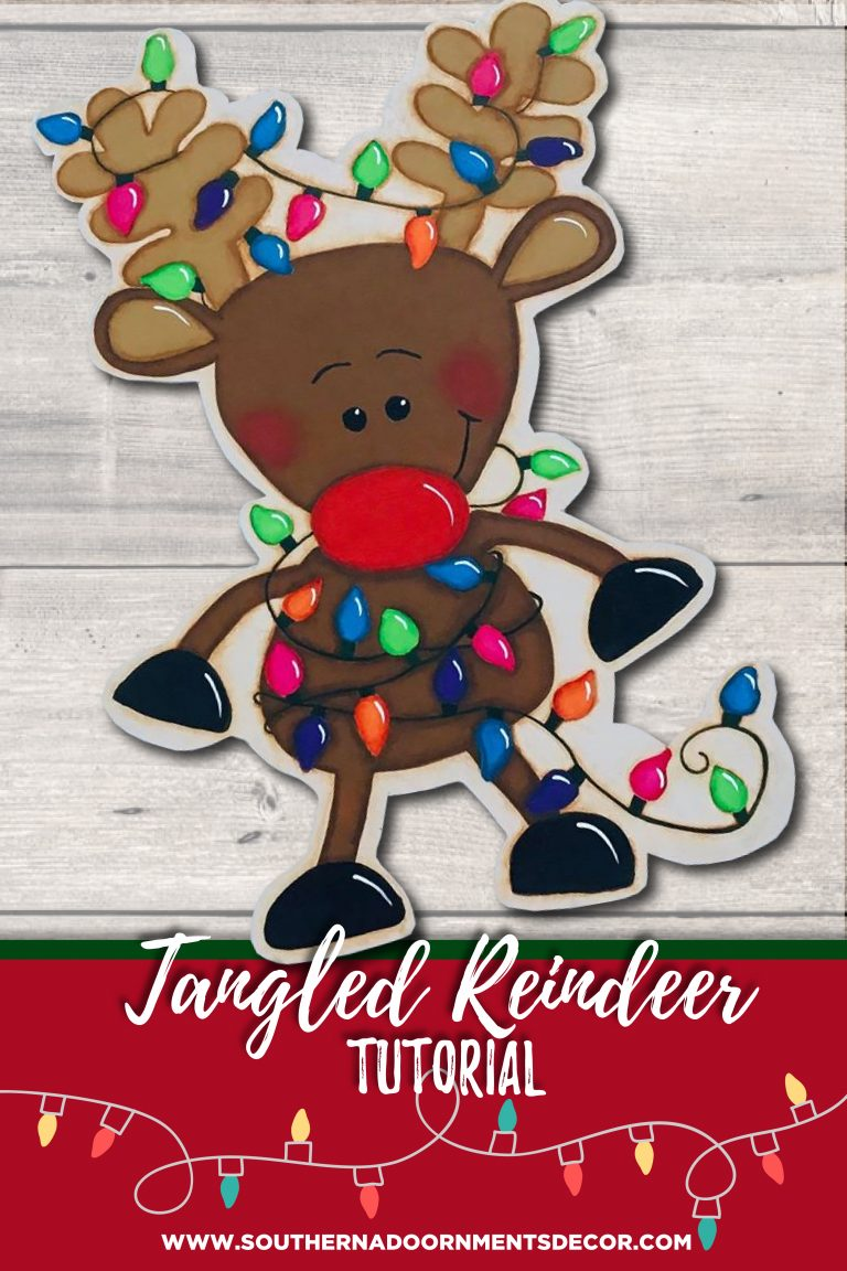 Tangled Rudolph Reindeer Painted Door Hanger by Southern A-DOOR-nments