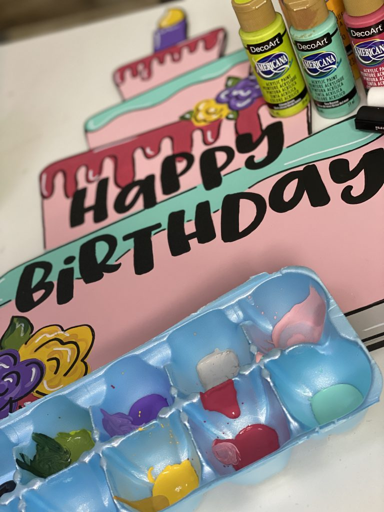 Painting the Birthday Cake Door Hanger with Southern A-Door-nments