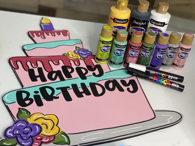 DecoArt Paints used to paint the Happy Birthday Cake Door Hanger
