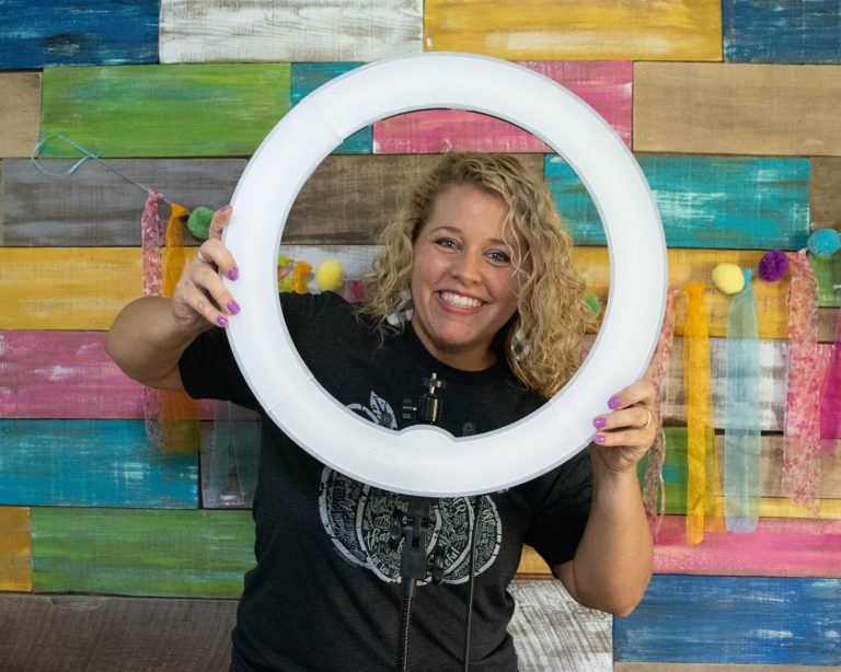 Tamara Bennett's Ring Light Used for Live Videos and Photos for the Gift Guide Door Hanger Business Owner