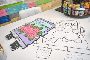 a painted door hanger and blank template