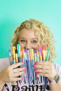 Tamara with Paint Brushes