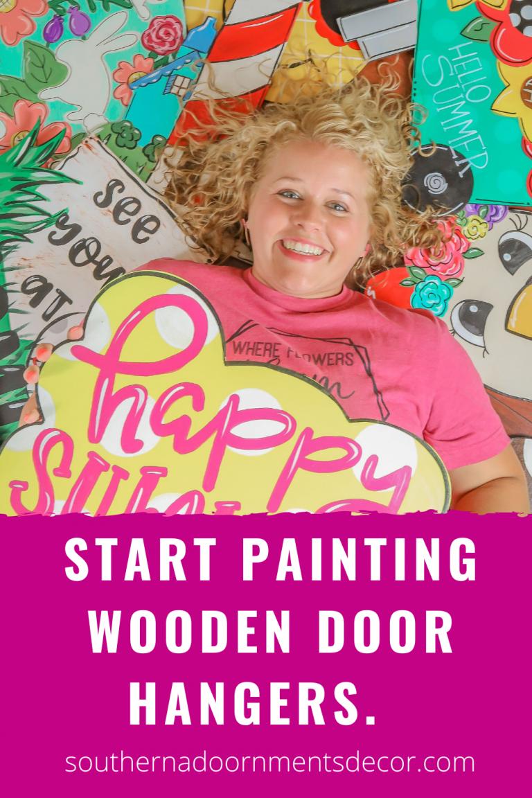 how to start painting wooden door hangers