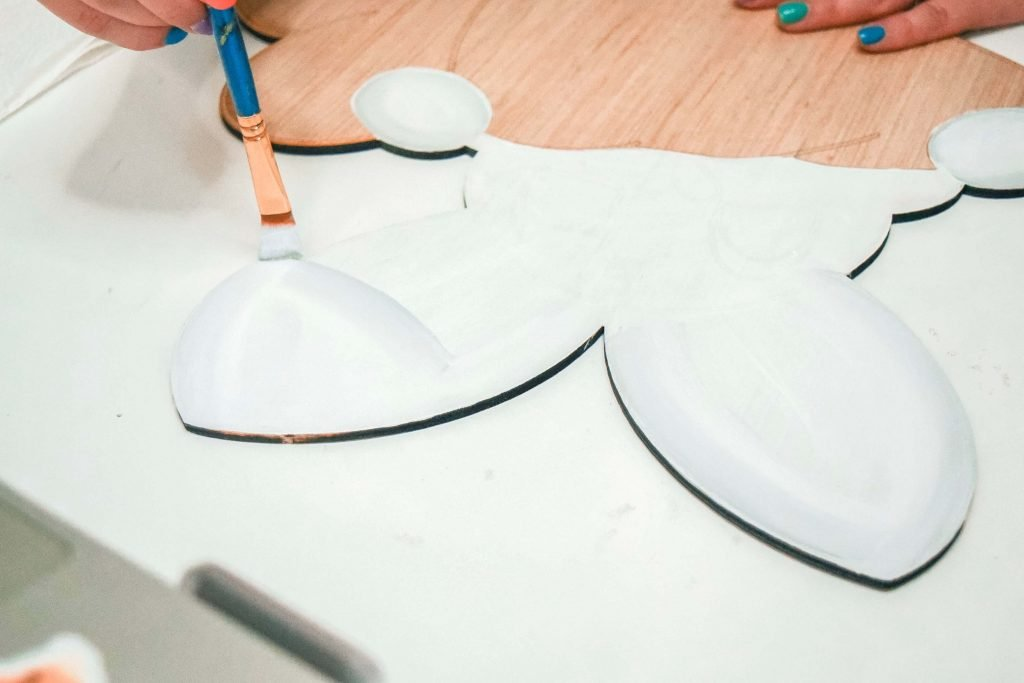 Painting the Bunny Ears with a Flat Tip Brush