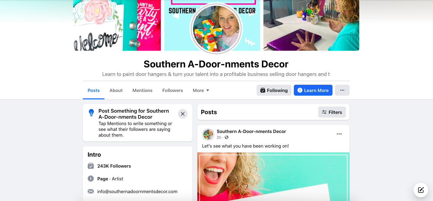 Southern A-Door-nments Facebook Page Screenshot