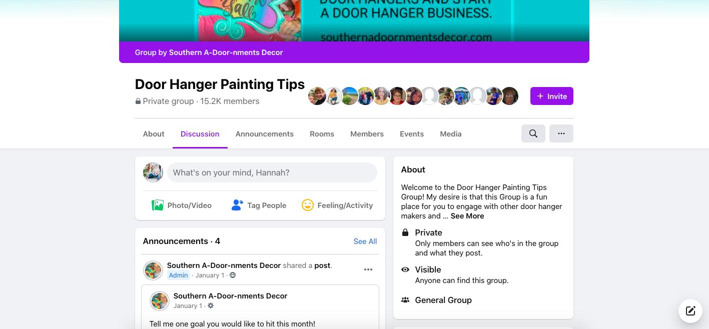 Southern A-Door-nments Facebook Group - Door Hanger Painting Tips Screenshot