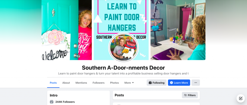 Screenshot of Southern A-Door-nments Facebook Page