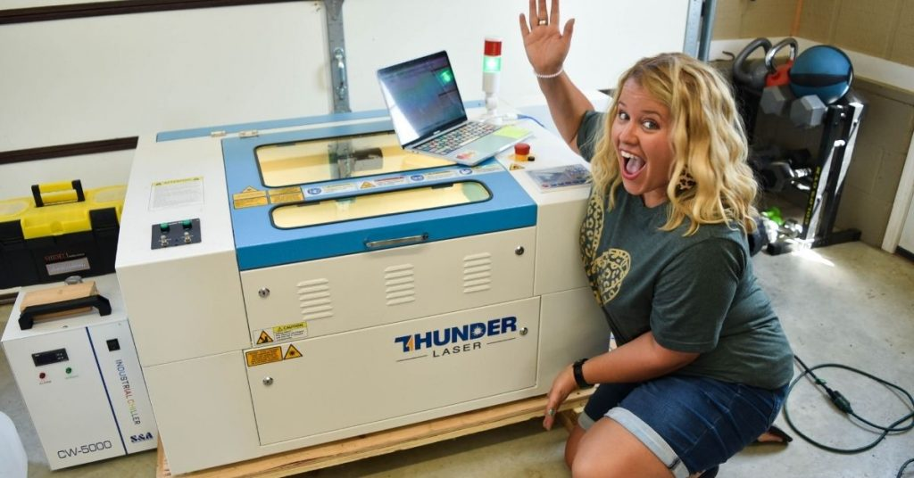 Tamara in front of the Thunder Laser